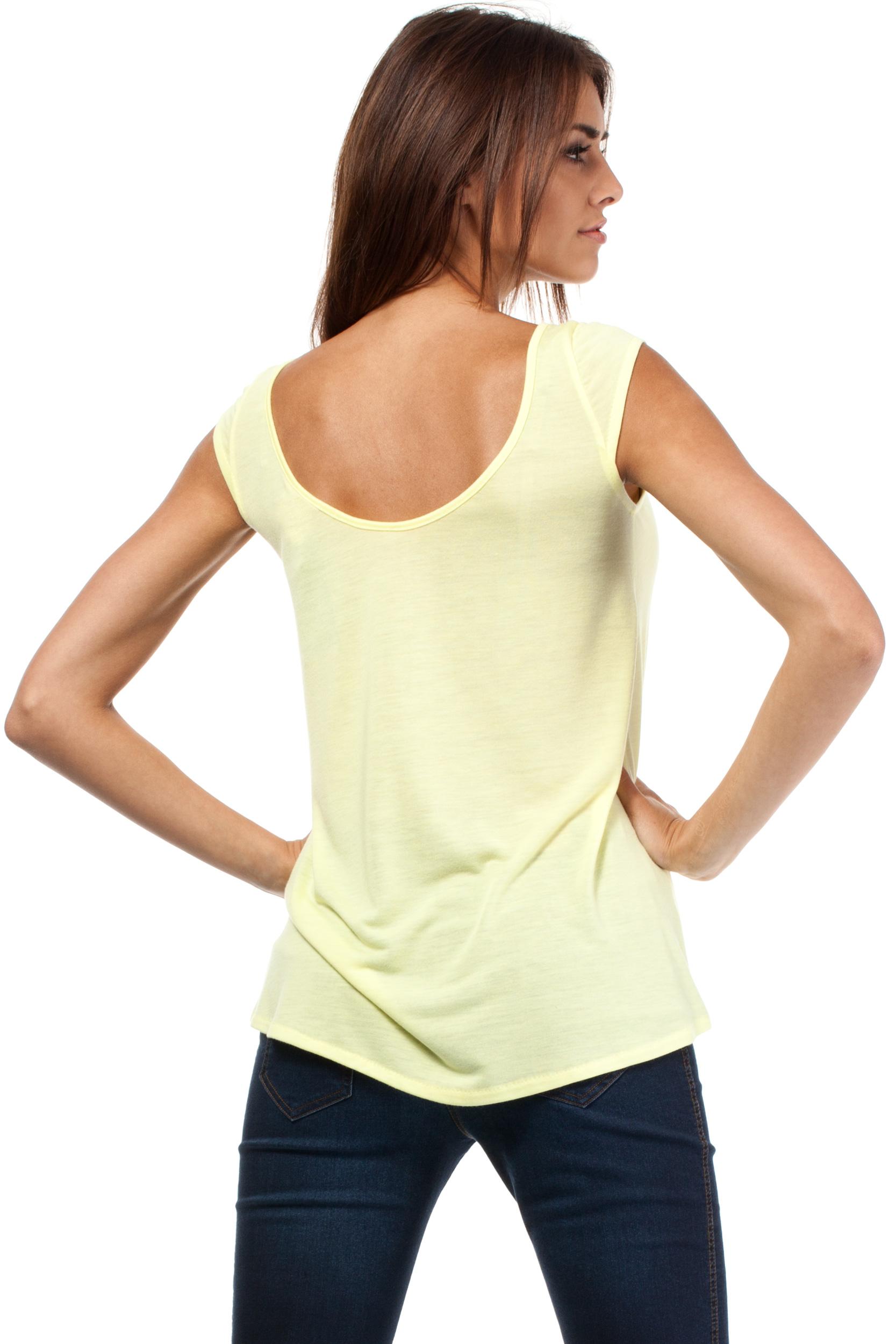 CM0785 Zwiewna bluzka damska z głębokim dekoltem z tyłu - żółta OUTLET
