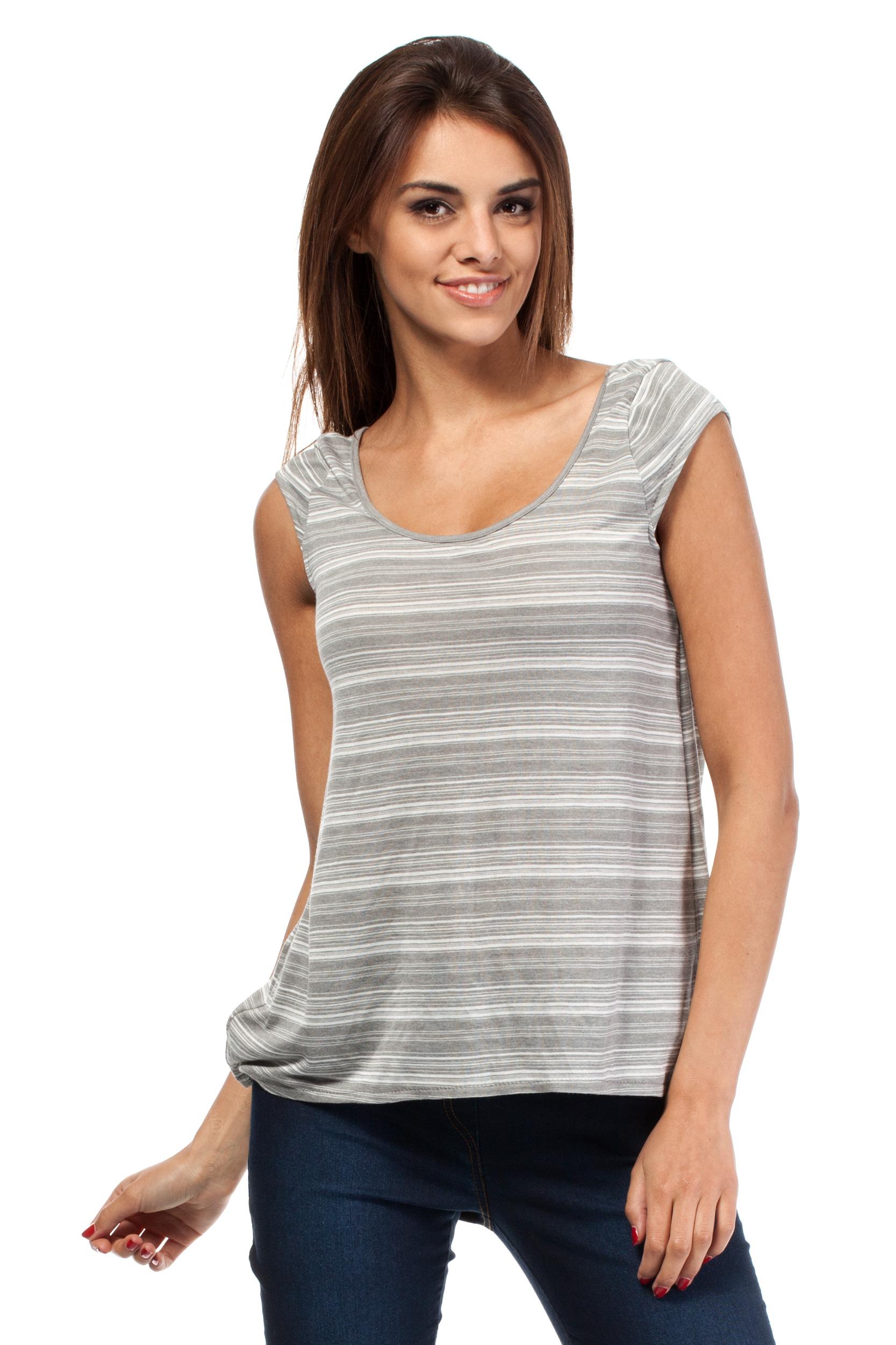CM0785 Zwiewna bluzka damska z głębokim dekoltem z tyłu - szara OUTLET