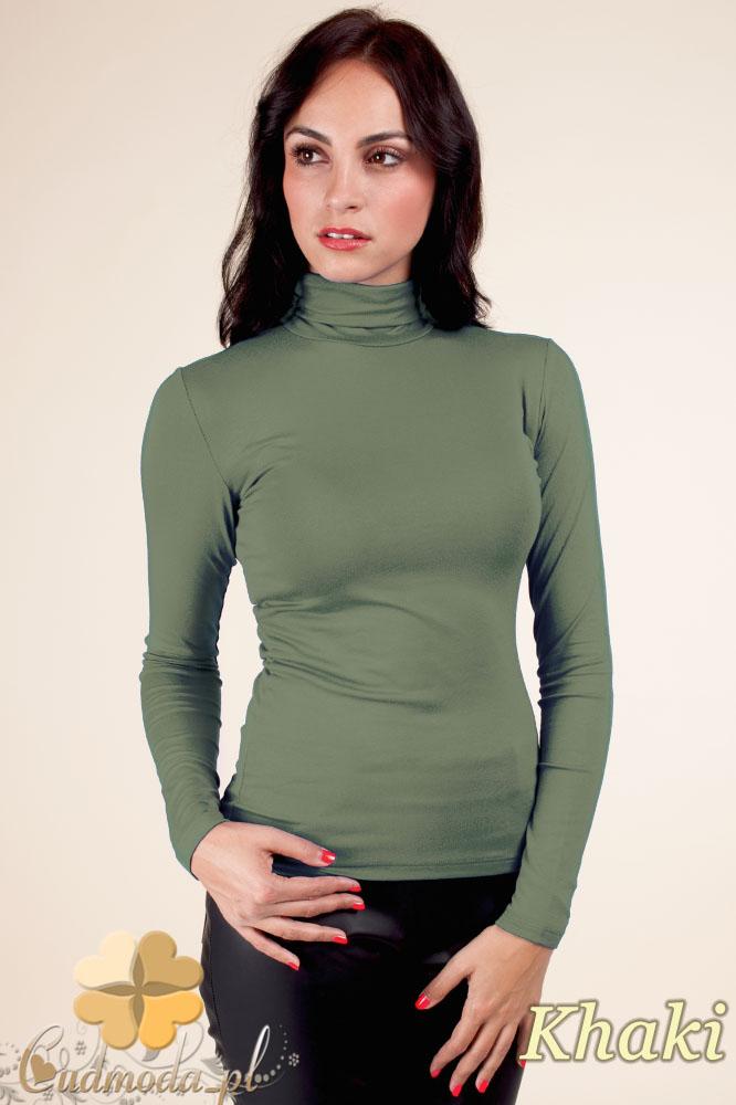 CM0016 Gładki golf damski w modnych kolorach - khaki