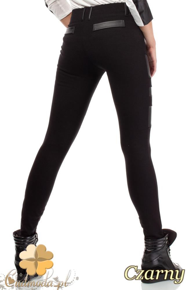 CM1817 Elastyczne legginsy ze skórzanymi wstawkami - czarne