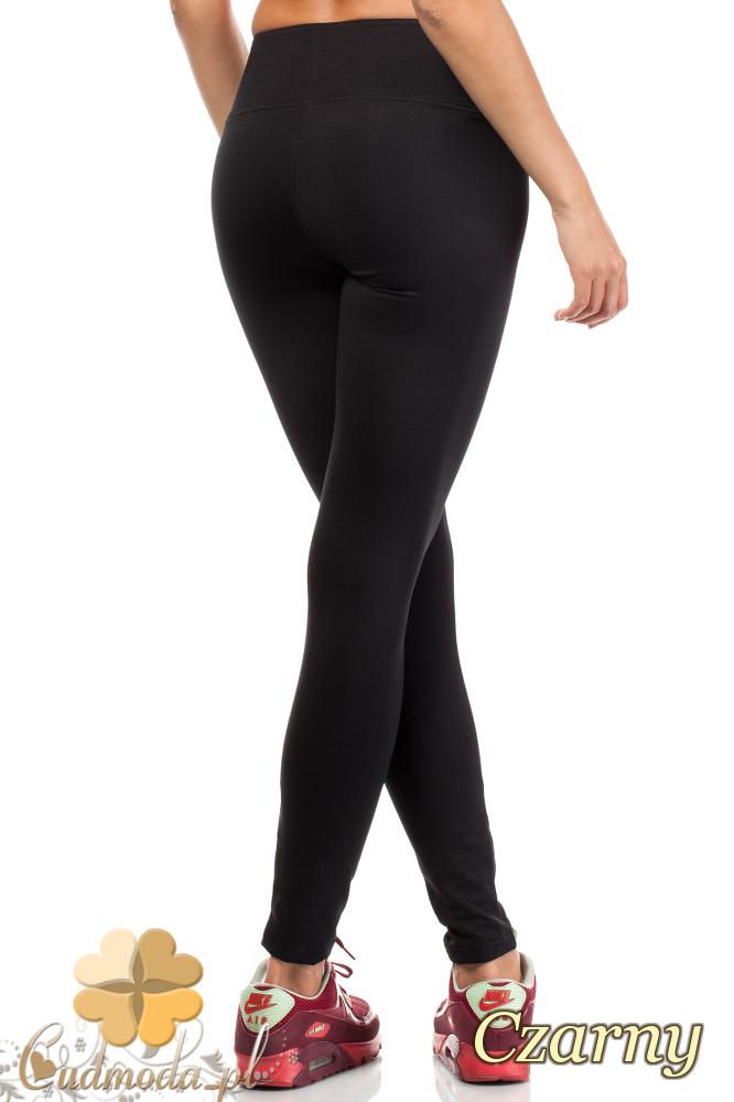 CM1812 Gładkie elastyczne legginsy bez kieszeni - czarne