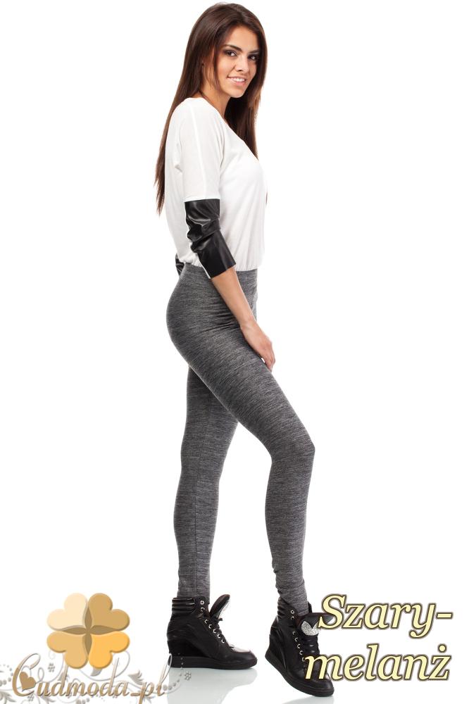 CM1839 Gładkie legginsy - szary-melanż