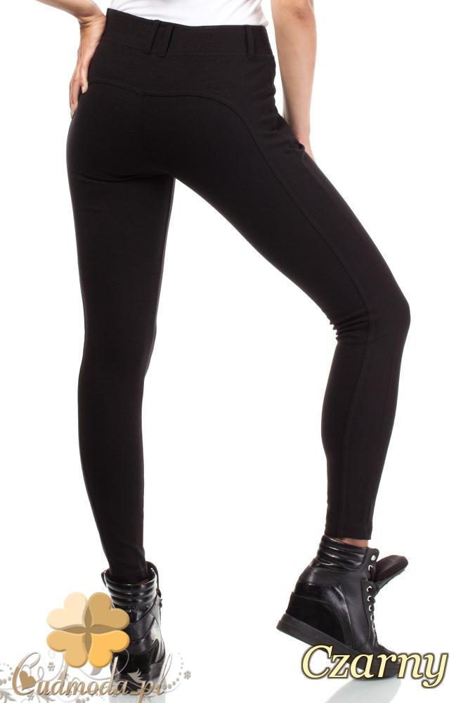 CM1919 Modne wyszczuplające spodnie z zamkami - czarne