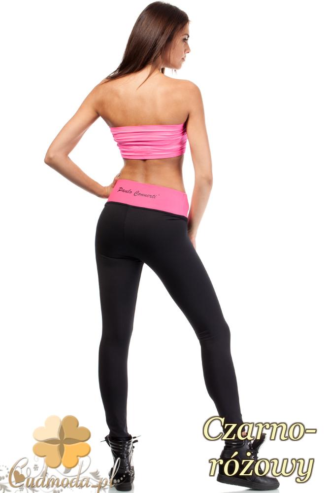 CM1921 Wyszczuplające gładkie legginsy sportowe - czarno-różowe