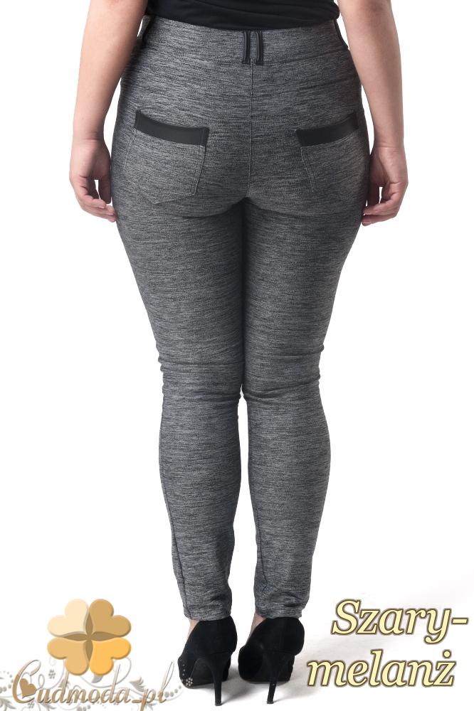 CM1903 Dopasowane spodnie ze skórzanymi wstawkami - szary-melanż