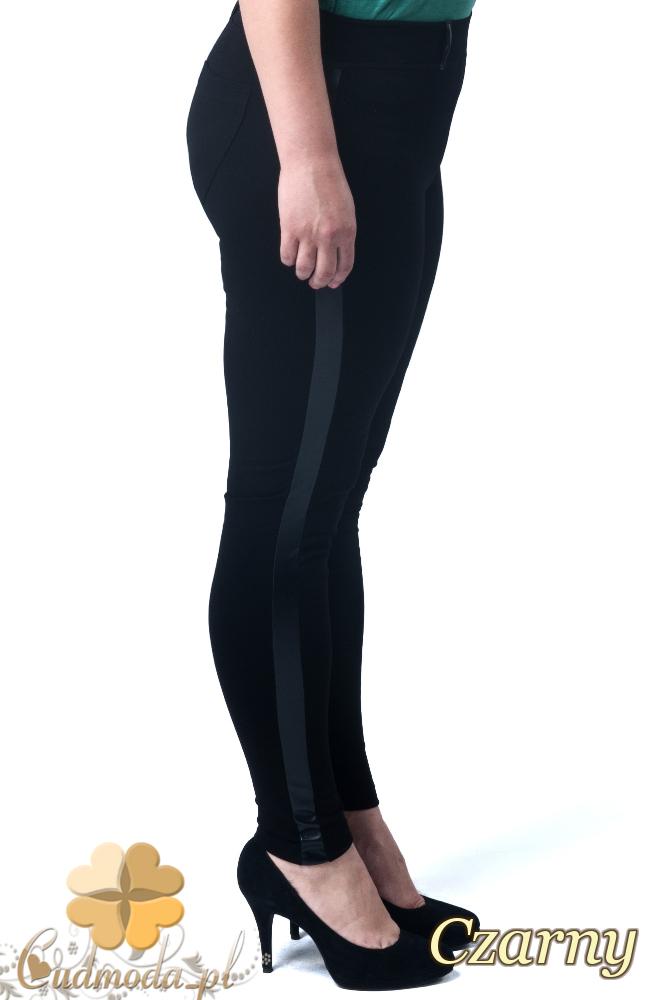 CM1905 Damskie spodnie ze skórzanym lampasem - czarne