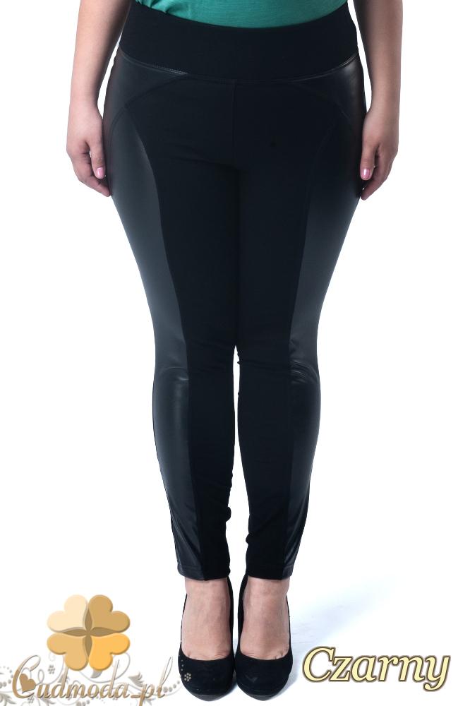 CM1904 Dopasowane legginsy ze skórzanymi wstawkami na boku i z tyłu - czarne