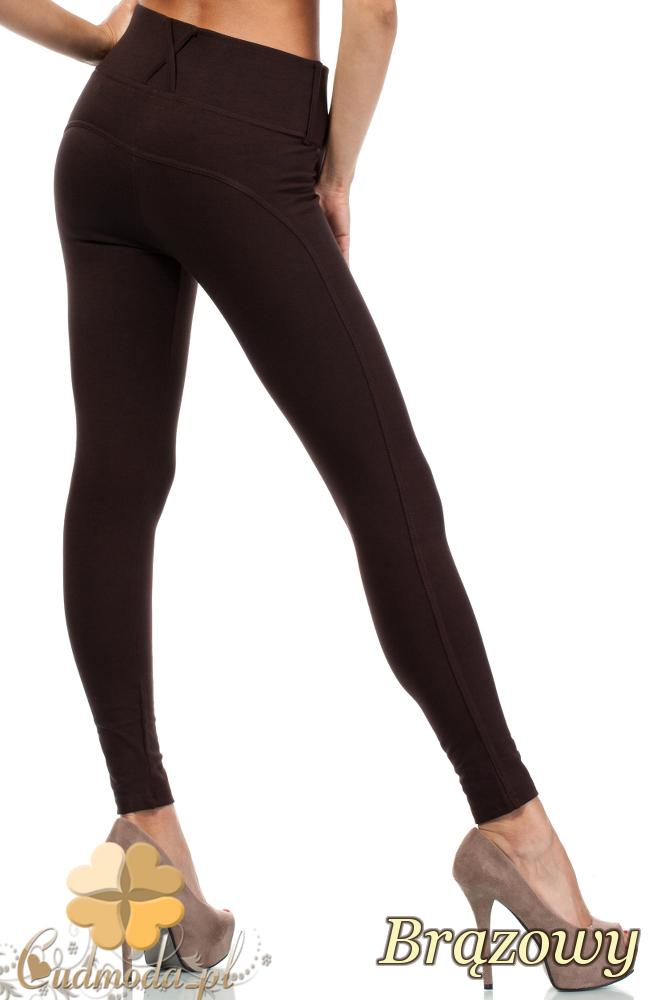 CM1917 Legginsy Push-Up dopasowane spodnie damskie - brązowe