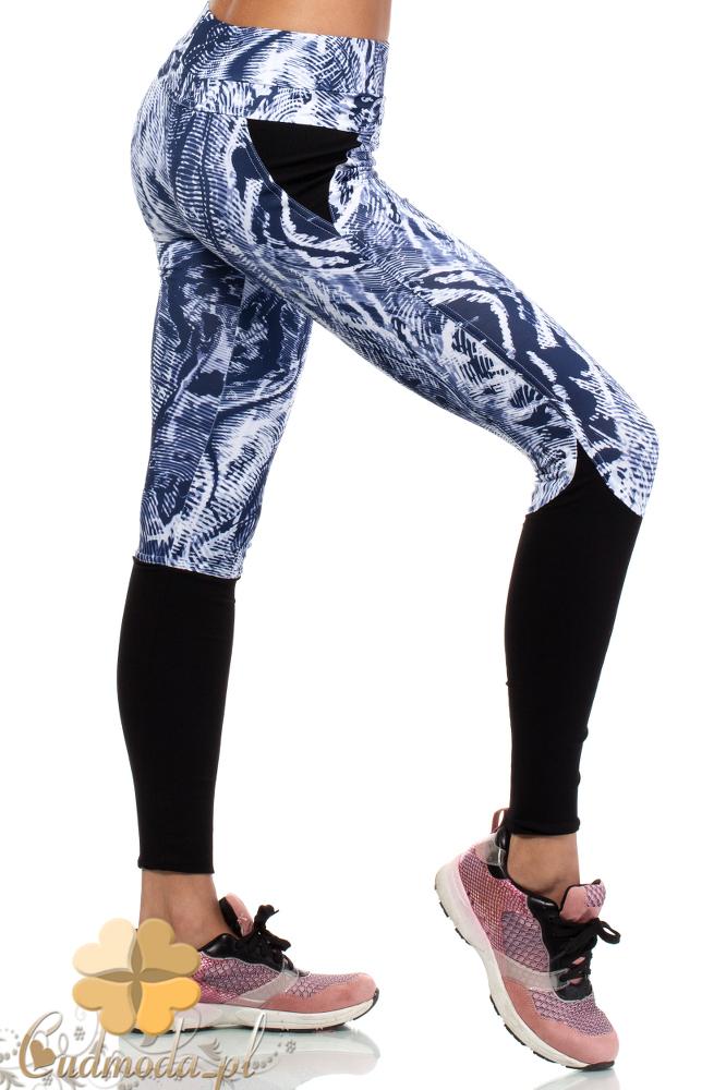 CM1931 Sportowe legginsy z kontrastowymi wstawkami