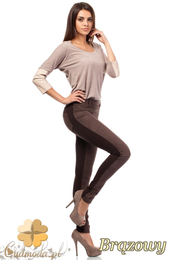 CM1914 Zamszowe legginsy damskie z kieszeniami - brązowe