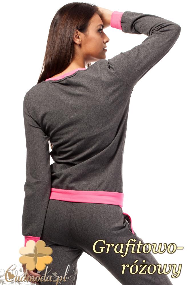 CM1846 Dresowa bluzka damska z kontrastowym pasem - grafitowo-różowa