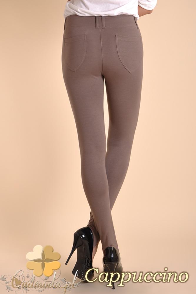 CM0031 Włoskie legginsy z zapiętką i kieszeniami - cappuccino
