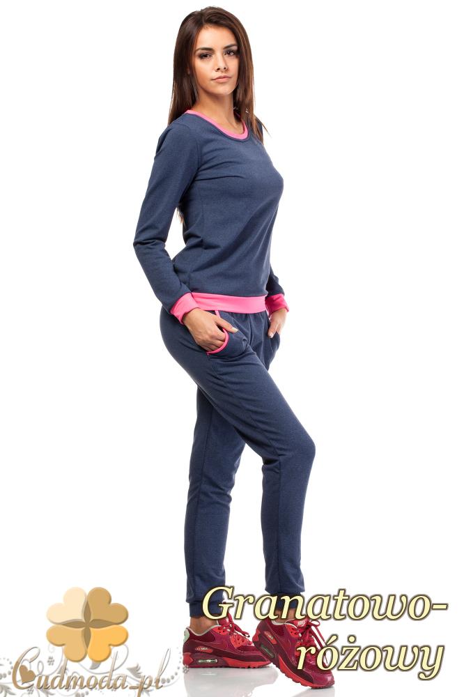 CM1847 Dresowa bluzka damska z kontrastowym pasem - granatowo-różowa