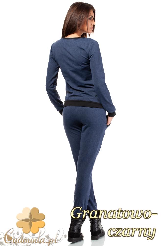 CM1848 Dresowa bluzka damska z kontrastowym pasem - granatowo-czarna