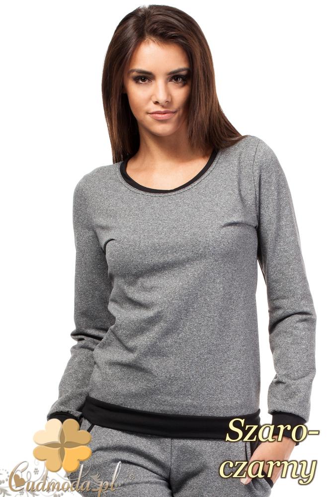 CM1845 Dresowa bluzka damska z kontrastowym pasem - szaro-czarna