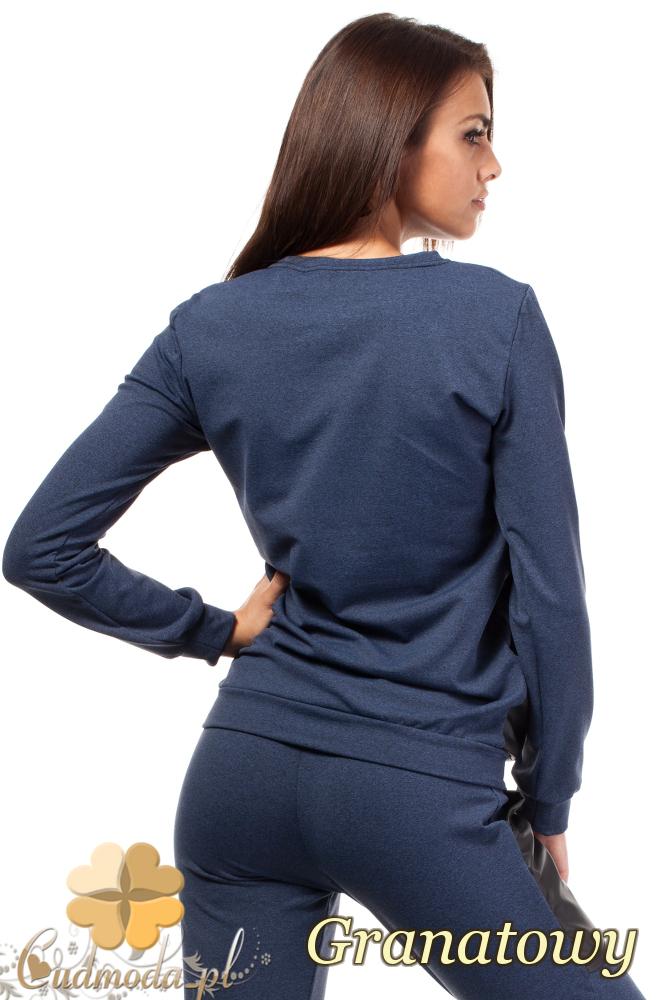 CM1849 Dresowa bluzka damska ze skórzanymi kieszeniami - granatowa