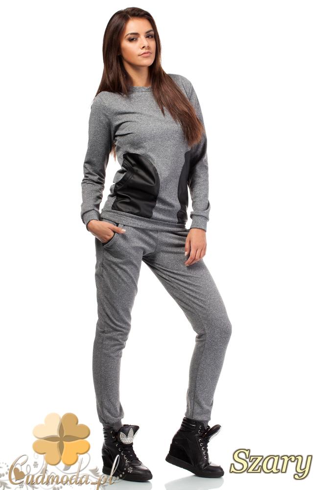 CM1849 Dresowa bluzka damska ze skórzanymi kieszeniami - szara