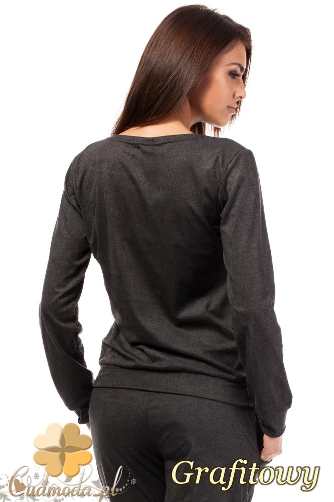 CM1852 Sportowa bluzka ze skórzanymi wstawkami - grafitowa