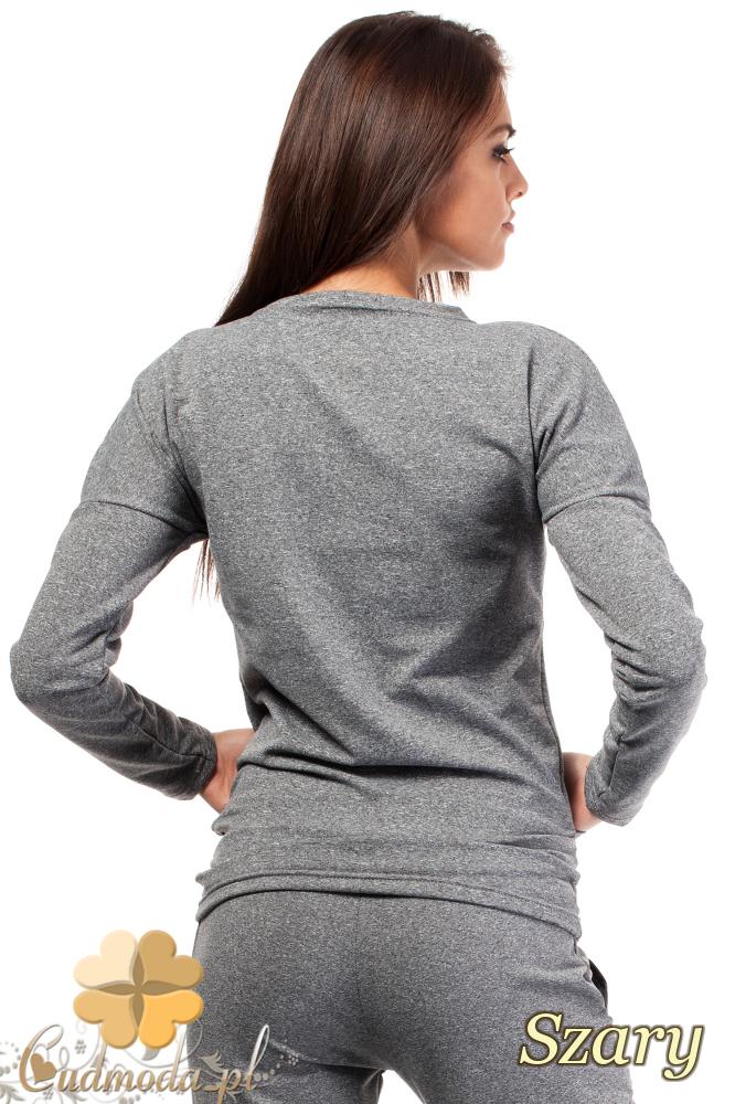 CM1851 Dresowa bluzka damska ze skórzanymi kieszeniami - szara