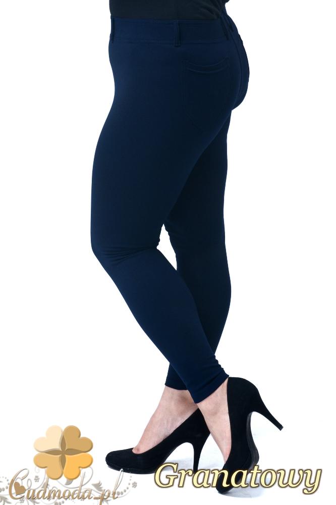 CM1907 Eleganckie dopasowane legginsy damskie z kieszeniami z tyłu - granatowe