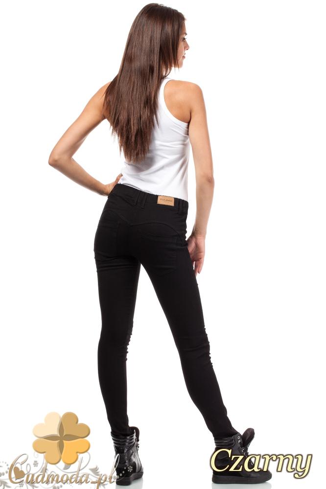 CM1818 Jeansy damskie rurki z Push Up'em - czarne