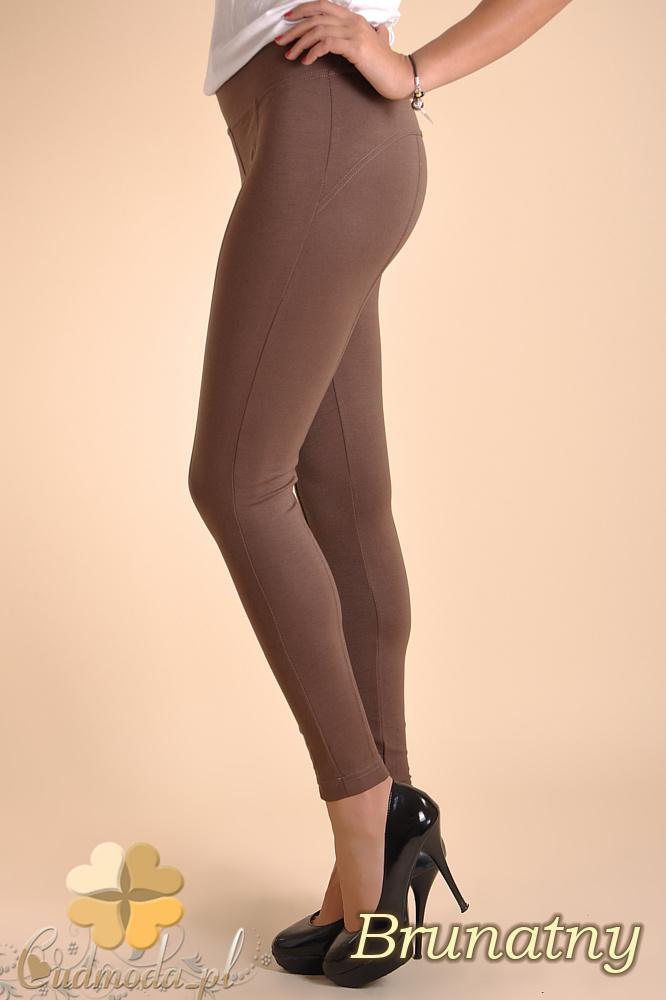 CM0038 Włoskie legginsy z przeszyciami - brunatne OUTLET