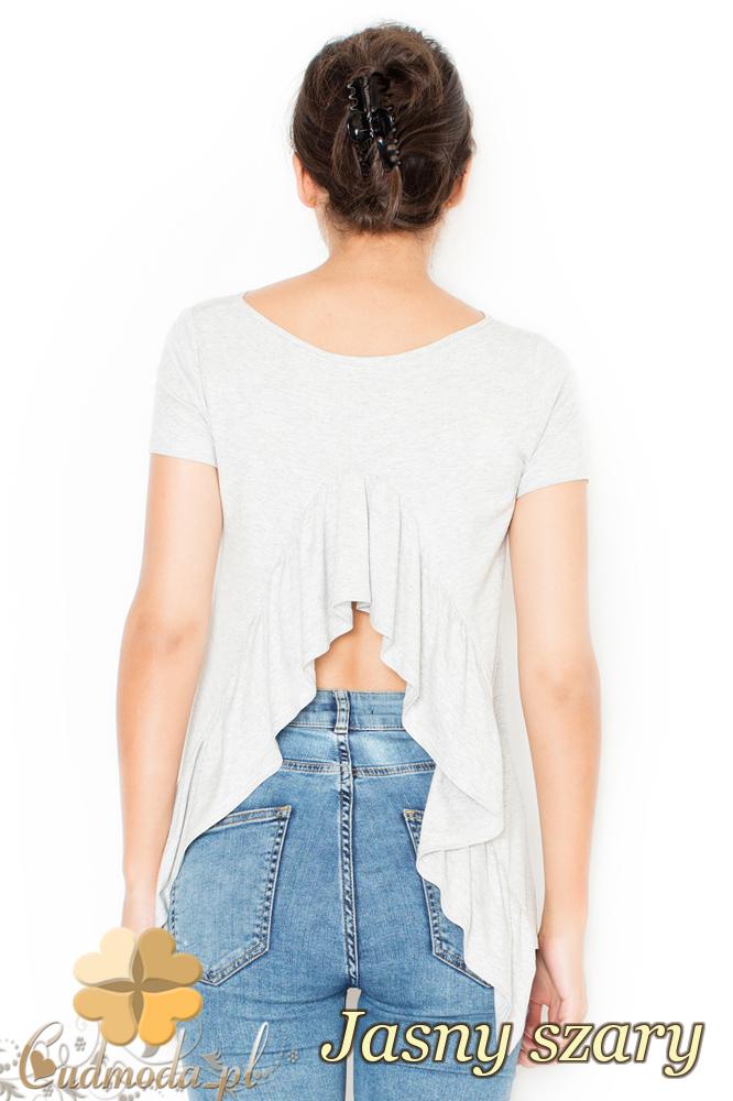 CM1945 Asymetryczna bluzka z odkrytymi plecami - jasny szary