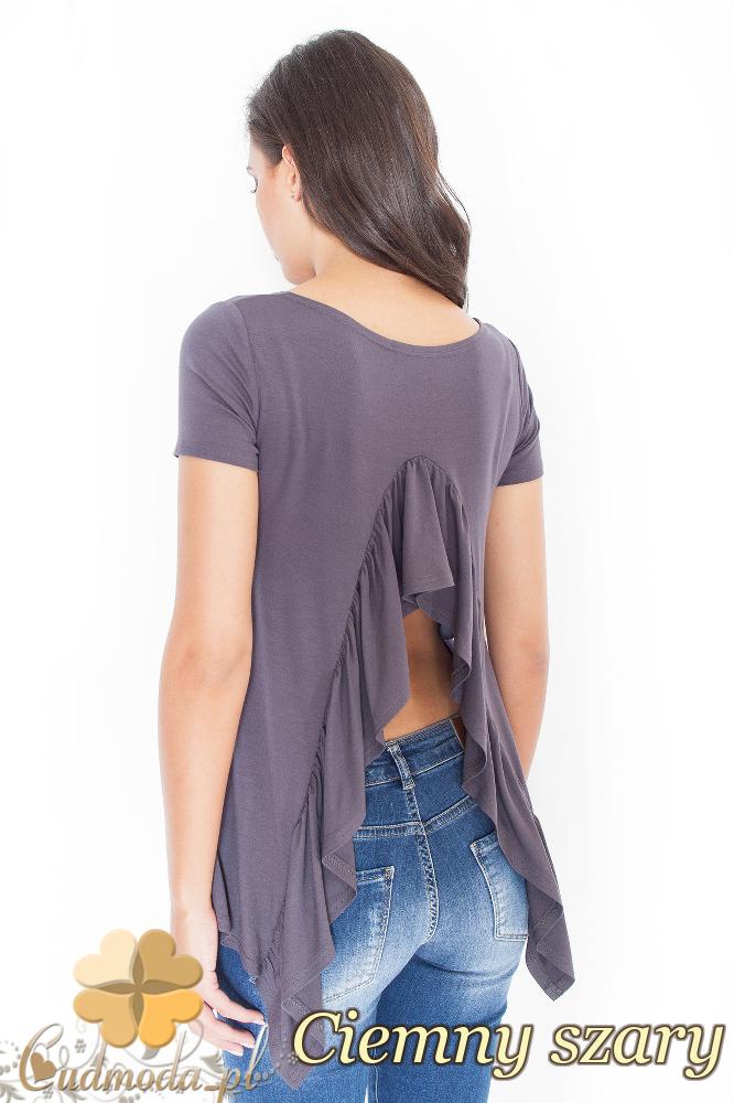 CM1945 Asymetryczna bluzka z odkrytymi plecami - ciemny szary