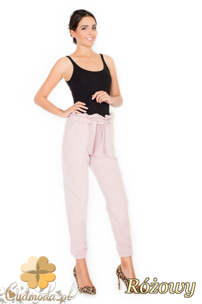 CM1948 Przewiązane spodnie dresowe rurki - różowe