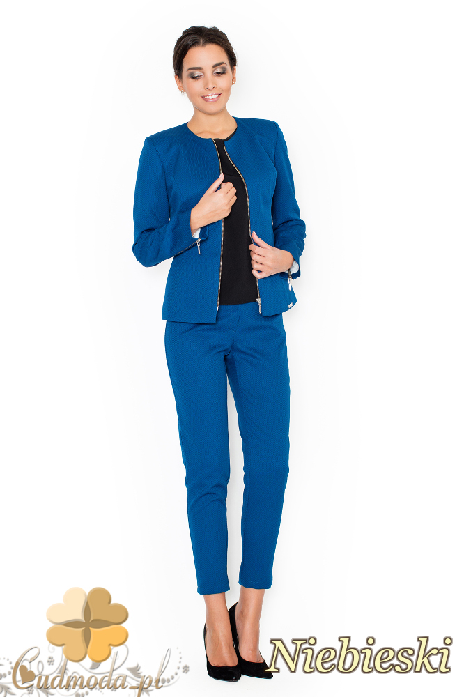 CM1949 Eleganckie garniturowe spodnie damskie - niebieskie