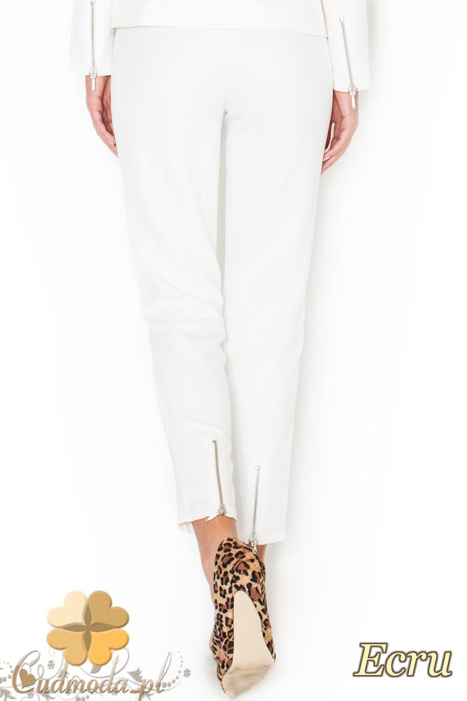 CM1949 Eleganckie garniturowe spodnie damskie - ecru