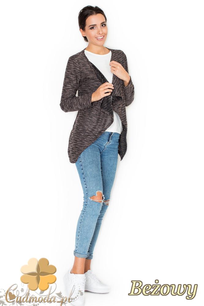 CM1951 Niezapinany sweter damski - narzutka - różowa