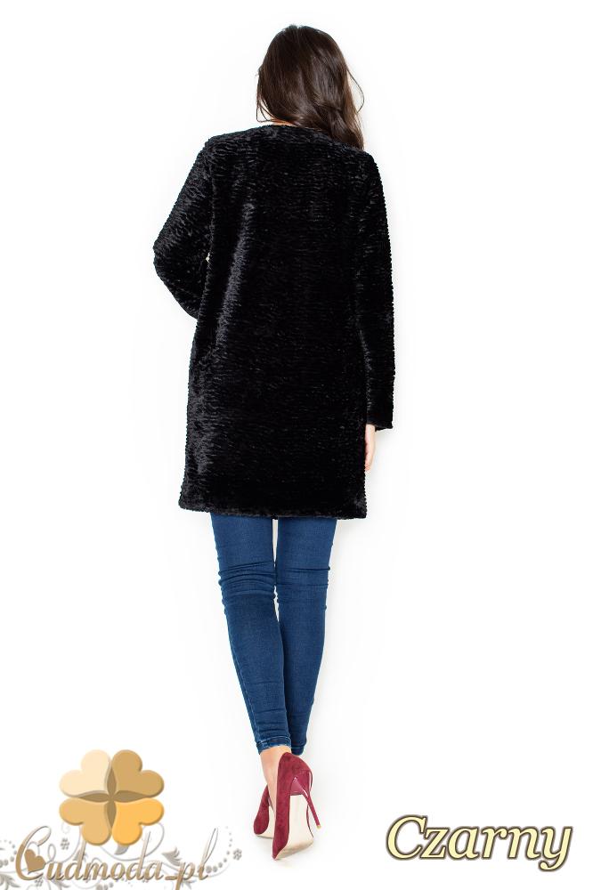 CM1954 Ciepły płaszczyk - futro na zimę - czarne