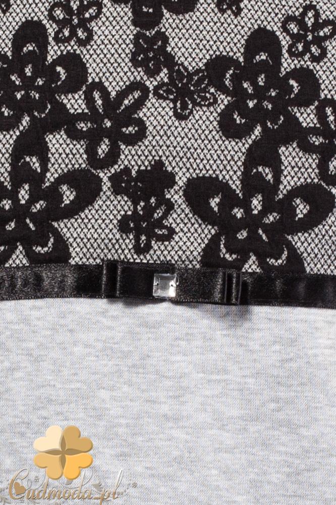 MA101 Bluzeczka dziewczęca z koronkową górą - szara