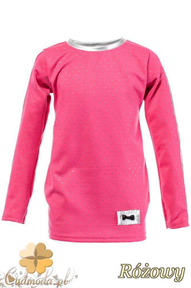 MA105 Dziecięca bluzeczka z cekinami i kokardką - różowa