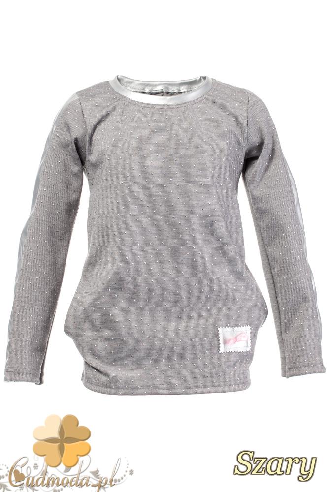 MA105 Dziecięca bluzeczka z cekinami i kokardką - szara