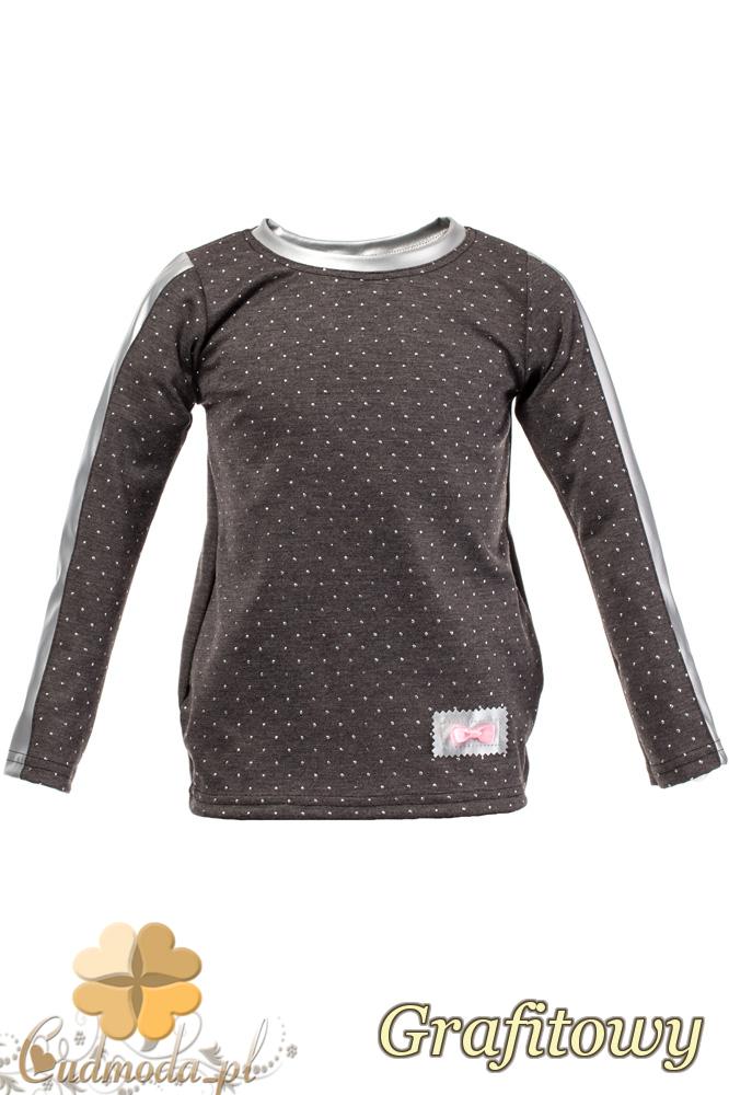 MA105 Dziecięca bluzeczka z cekinami i kokardką - grafitowa