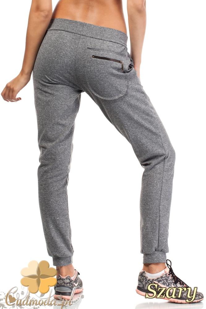 CM1842 Dresowe spodnie sportowe z kieszonką - szare