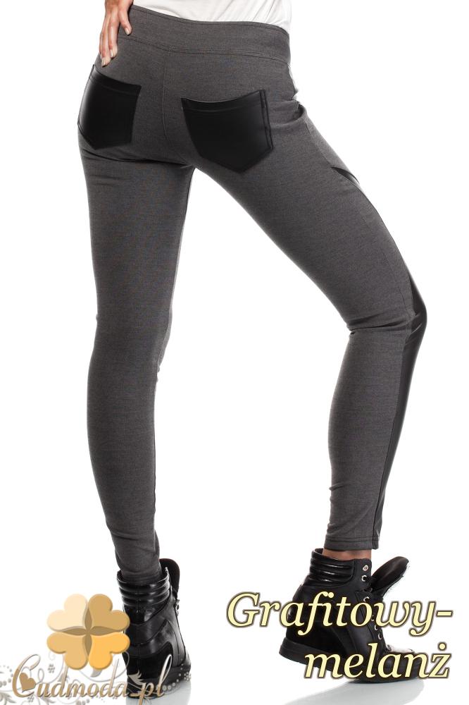 CM1927 Włoskie wyszczuplające legginsy ze skórzanymi wstawkami - szare