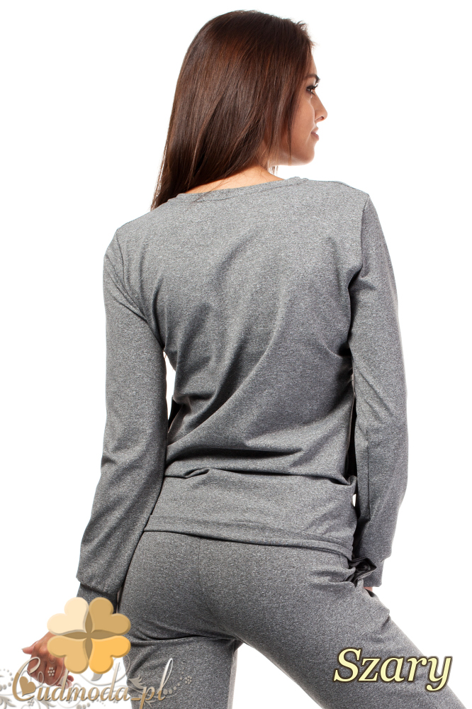 CM1020 Bluza damska z kieszeniami i skórzaną lamówką - szara