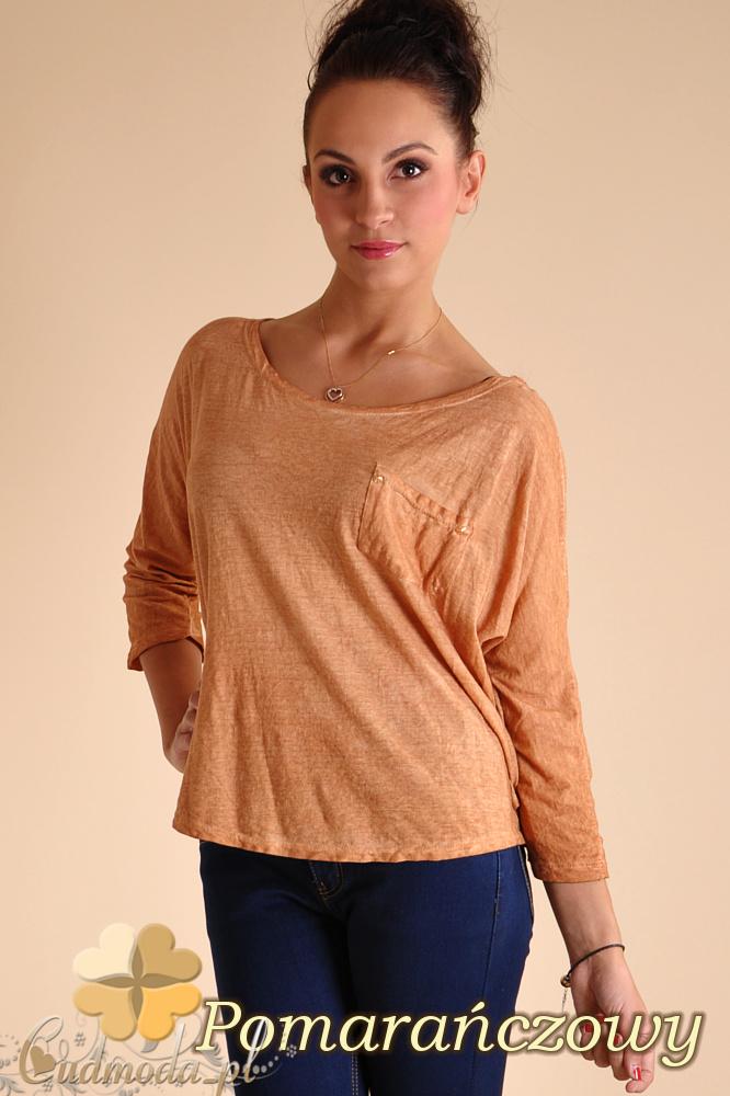 CM0141 Bluzka koszula z ćwiekami na plecach - pomarańczowa