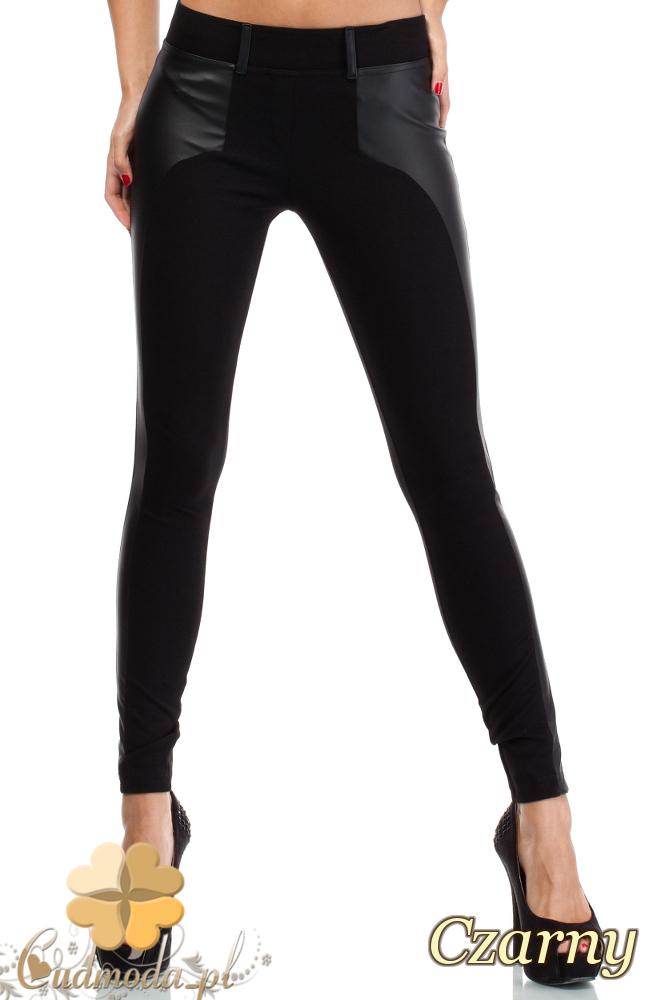 CM1816 Elastyczne dopasowane legginsy ze skórzaną wstawką - czarne