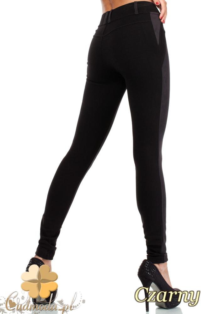 CM0037 Włoskie legginsy z zamszową wstawką czarne