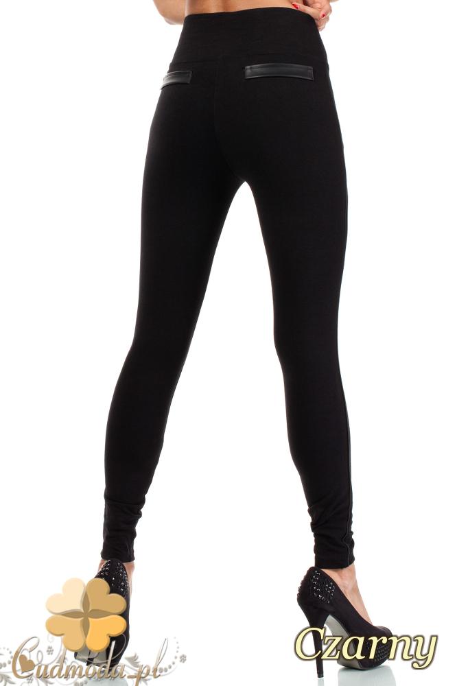 CM1815 Stylowe legginsy z zamkami i skórzanymi wstawkami z tyłu - czarne