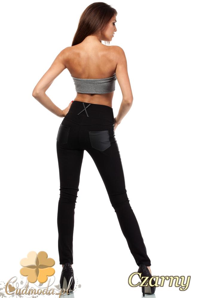 CM1915 Dopasowane skórzane legginsy z kieszeniami - czarne