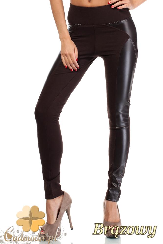 CM0188 Włoskie legginsy z wysokim stanem i skórzanymi wstawkami - brązowe