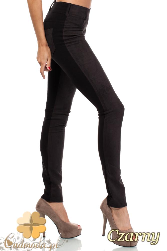 CM1914 Zamszowe legginsy damskie z kieszeniami - czarne