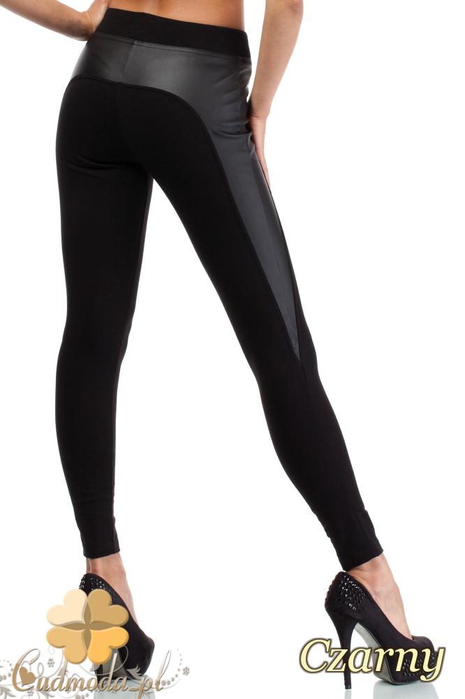 CM1819 Wyszczuplające spodnie rurki ze skórzaną wstawką na boku - czarne