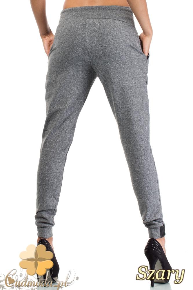 CM1854 Eleganckie dresowe spodnie na polarze z kieszeniami - szare