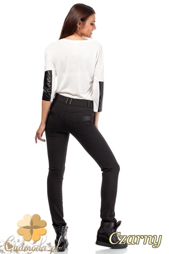 CM1005 Legginsy spodnie damskie ze skórzanymi szlufkami i wstawkami na kieszeniach - czarne